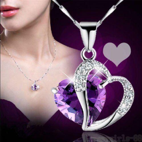 USA Women Purple Heart Amethyst Crystal Silver Chain Pendant Necklace Jewelry