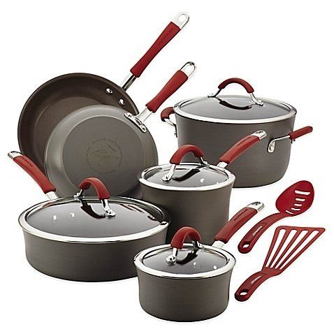 RACHAEL RAY Cucina Hard-Anodized 12-Piece Cookware Set - Grey/Red $135 - FREE SHIPPING OR PICK UP - COMPARE ELSEWHERE $180+) InterexHome.Com