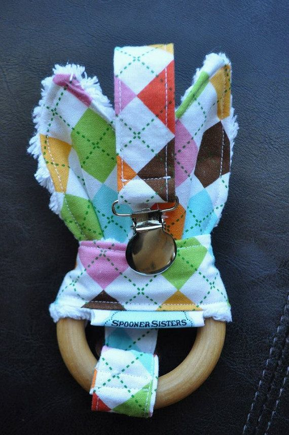 Argyle Wooden Organic Teething Ring/Toy by SpoonerSistersDesign, $30.00