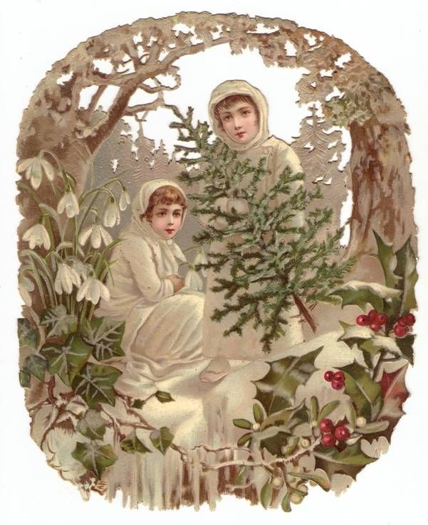 Oval Victorian Christmas Die Cut Snow Girls Pine Tree Holly Forest Magic Decoration Antique Scrap 1880s