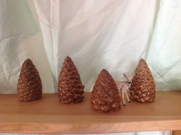 Cut off new pinecones, make lovely trees.