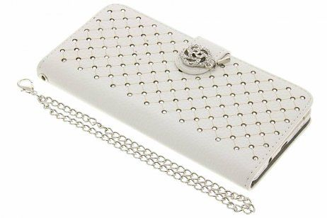 Samsung Galaxy J5 hoesje - Witte chique strass booktype
