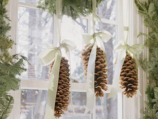 Dishfunctional Designs. Simple and elegant pine cones with ribbon! LOVE!