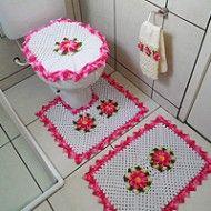 Jogo de Banheiro Flor Neila 3D: De Vez, Set, Flor Neila, Banheiro Flor, Dark Purple Bathroom, World, Artesanato Inteligent, Bathroom, De Algun