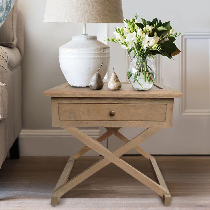 Oak Cross Leg Side Table