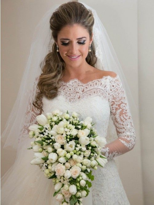 A-Linie Schulterfrei Hof-schleppe Lange Ärmel Organza Kleid Für Die Braut