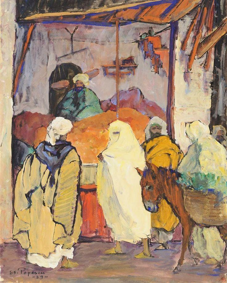 La negustorul de curmale (1929) - St. Popescu; tempera și tuș pe hârtie gălbuie