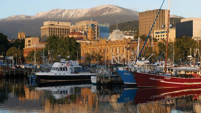 Hobart, Tasmania, Australia. Hobart is the finish point of the Sydney to Hobart yacht race that leaves Sydney Harbour on Boxing Day (26 December) each year and is an Australian summertime tradition.