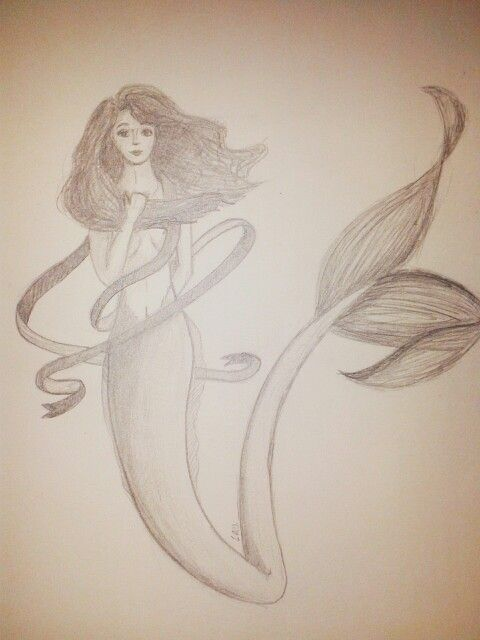 Mermaid with pencil.
