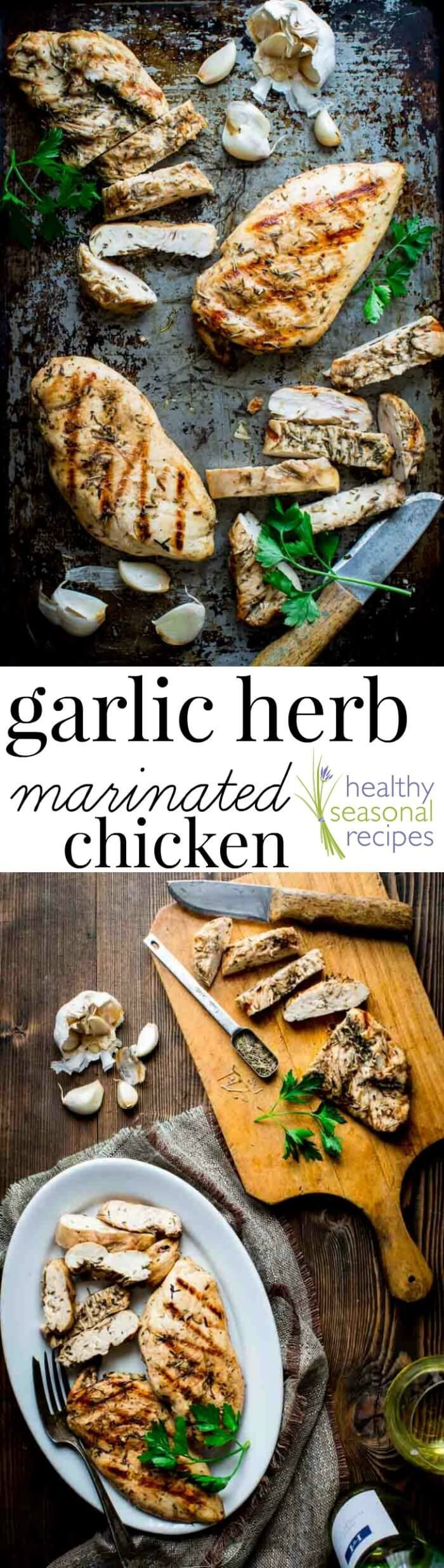 With this Garlic Herb Marinated Chicken recipe you will never have to eat bland dry grilled chicken again! Just 6 ingredients (including salt) and only 20 minutes of prep will give you a gluten-free, dairy-free and low-carb entree that literally sings with flavor. And check out my no-muss-no-fuss way to marinade the chicken!
