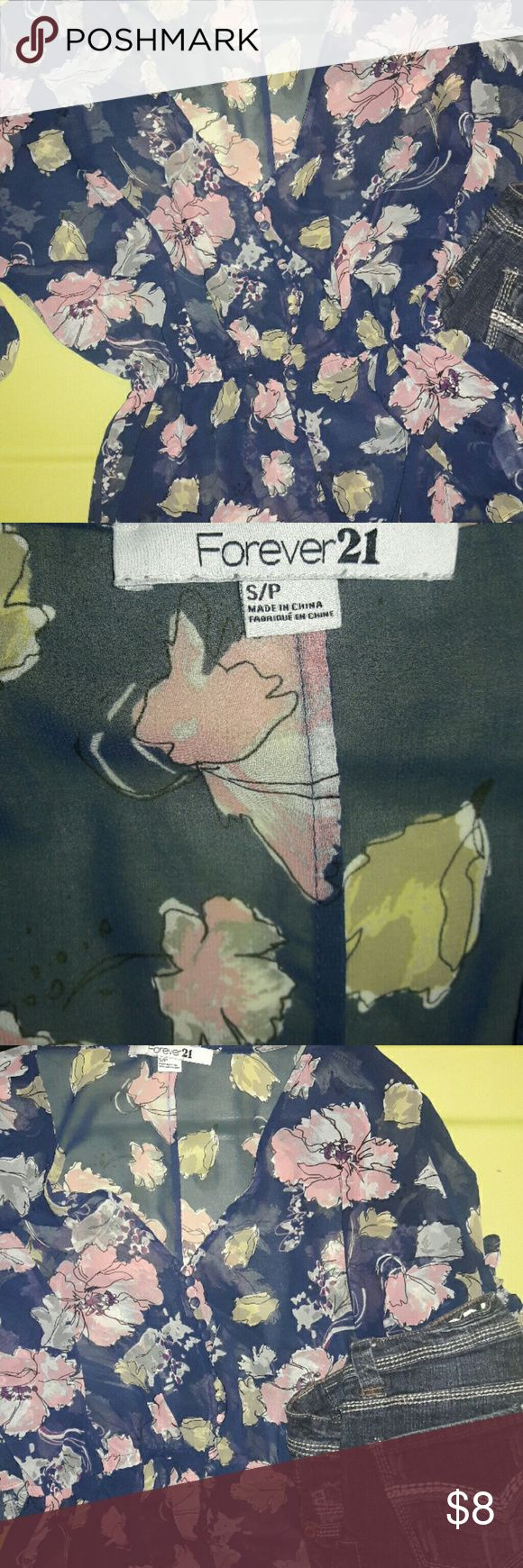 Forever 21 Floral top This soft sheer blouse with floral print of pinks, marron inside flower and green leaves on a royal blue is so Sweet! Batwing sleeves with elastic gathering at waist.. Forever 21 Tops Blouses
