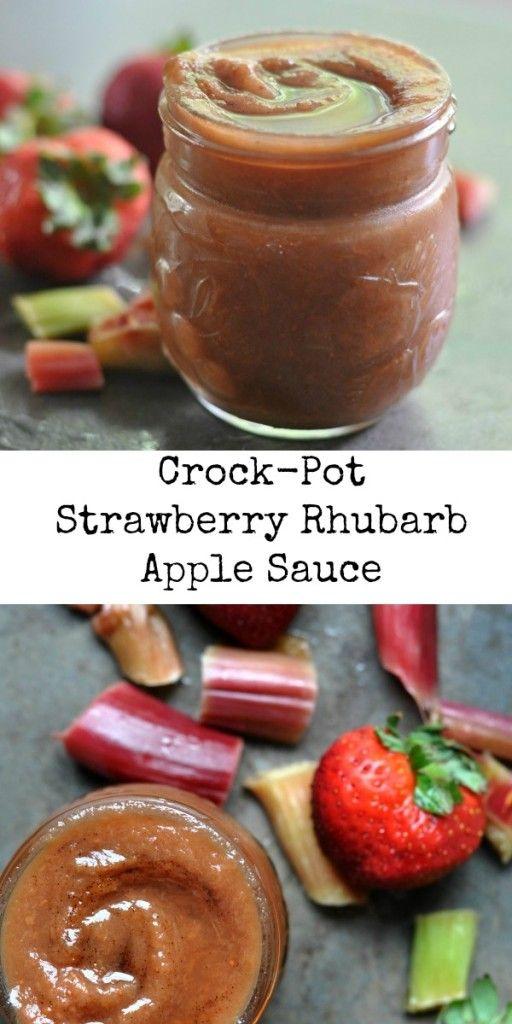 Strawberry Rhubarb Apple Sauce: Easy #crockpot recipe
