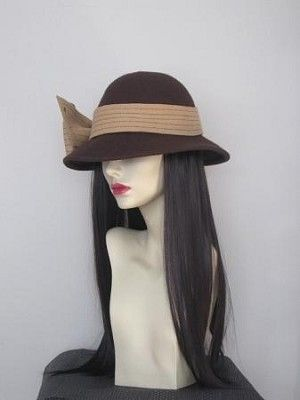 "#Brown Wool Felt Hat  Hair Length: 18"" Straight Hair Color Pictured: Dark Brown #2 (6 colors available- see dropdown menu) High quality synthetic hair fiber."
