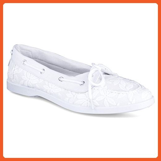 Twisted Women's BONNIE Floral Canvas Boat Shoe - WHITE, Size 8 - Loafers and slip ons for women (*Amazon Partner-Link)