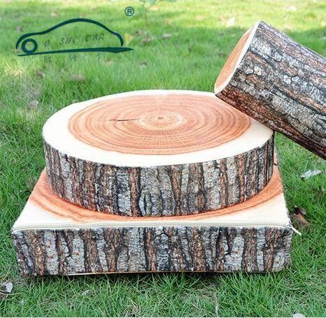 1Pc New Stump Shaped Decorative Pillows Cute Round Woods Grain Soft Plush Chair Seat Cushion Home Car Decor