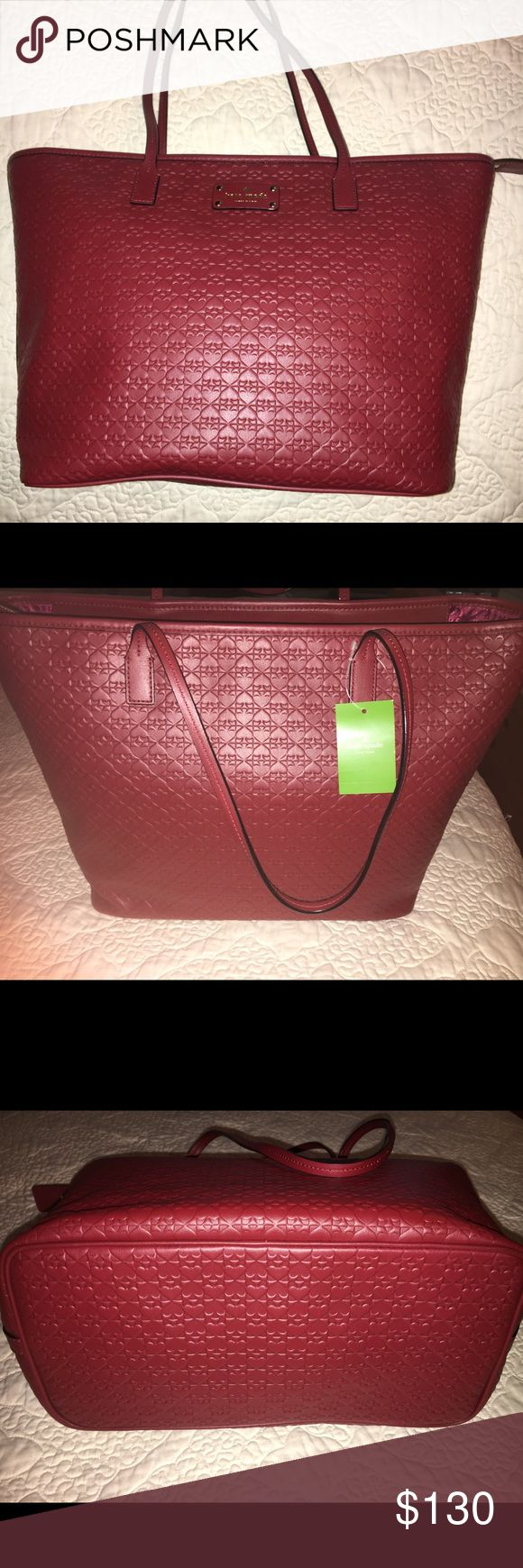 Kate Spade NWT large tote Large deep red kate spade bag from online store not outlet. Never used . Great for laptops travel etc NWT. kate spade Bags Totes
