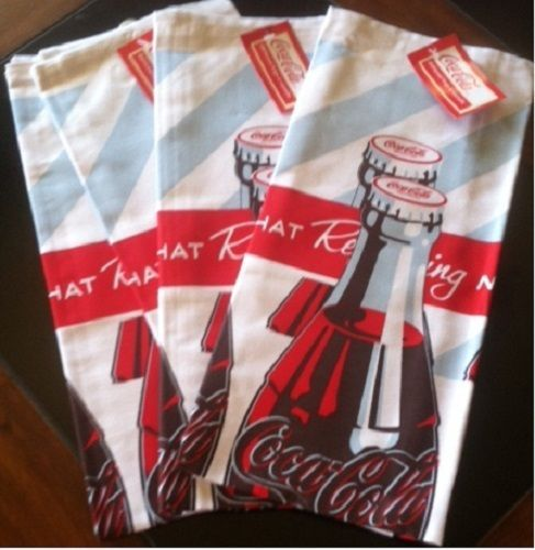 Delightful COCA COLA COKE 4PC BOTTLES TOWELS SET BRAND NEW!