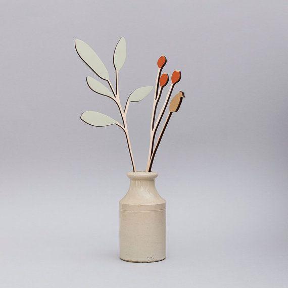 Des fleurs en bois - contreplaqué - hiver Sage & Berry Set