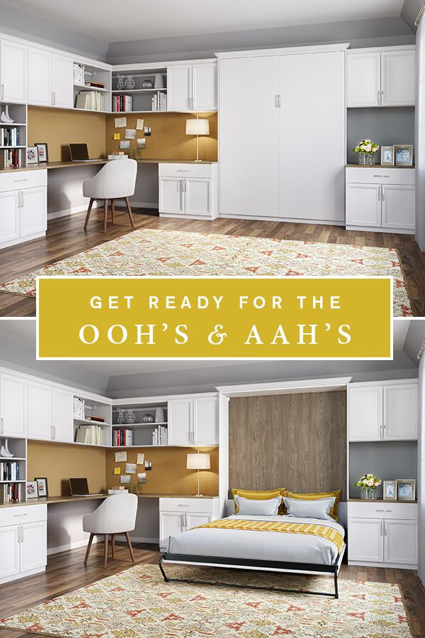 Wow your guests with a wall bed! This multipurpose space is a home office by day and a lovely guest room at night!