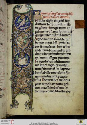 Cod. Sal. VII,112 Evangelistar Salem, um 1250 Codices Salemitani - digital Zitierlink: http://digi.ub.uni-heidelberg.de/diglit/salVII112 i URN: urn:nbn:de:bsz:16-diglit-62015 i Metadaten: METS