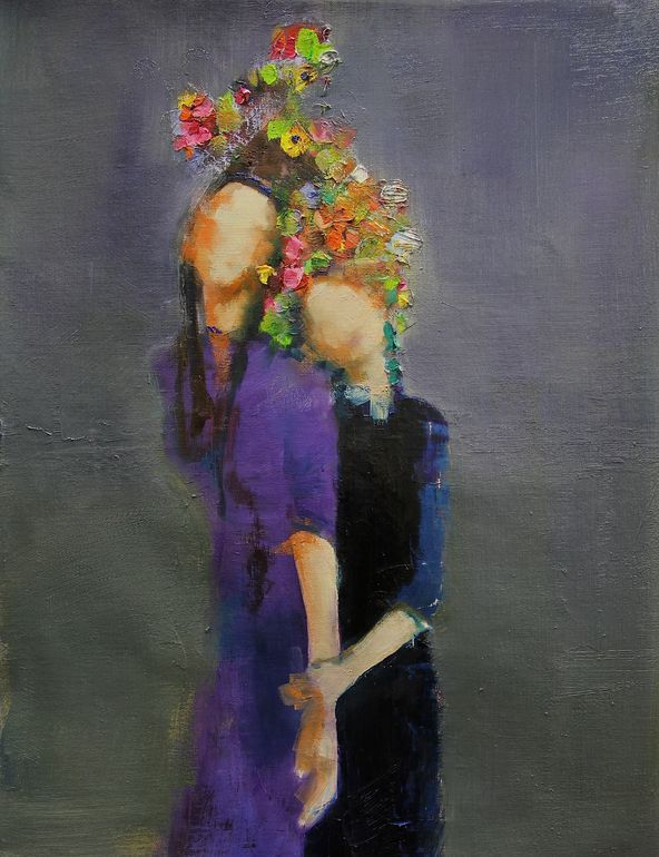 "Saatchi Art Artist: Fanny Nushka Moreaux; Oil 2014 Painting ""Two Sisters (SOLD)"""
