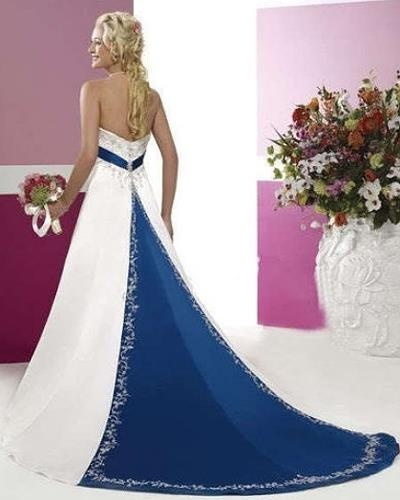 Amazing Blue Accent Wedding Dress (Back)