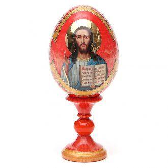 Russian Egg Pantocrator découpage red background, Fabergè style 13cm   online…