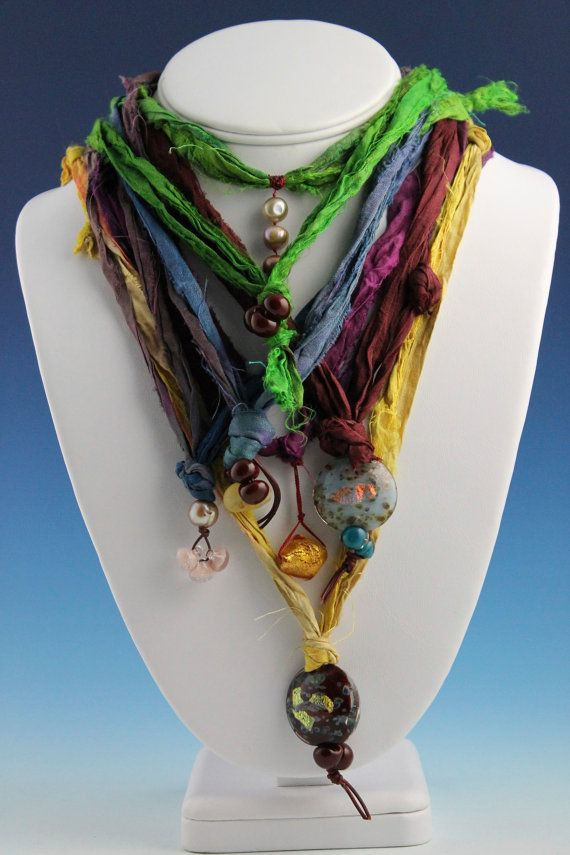 Silk Sari Strands with Pendant  Plum and Gold by MarilynGabriel, $45.00