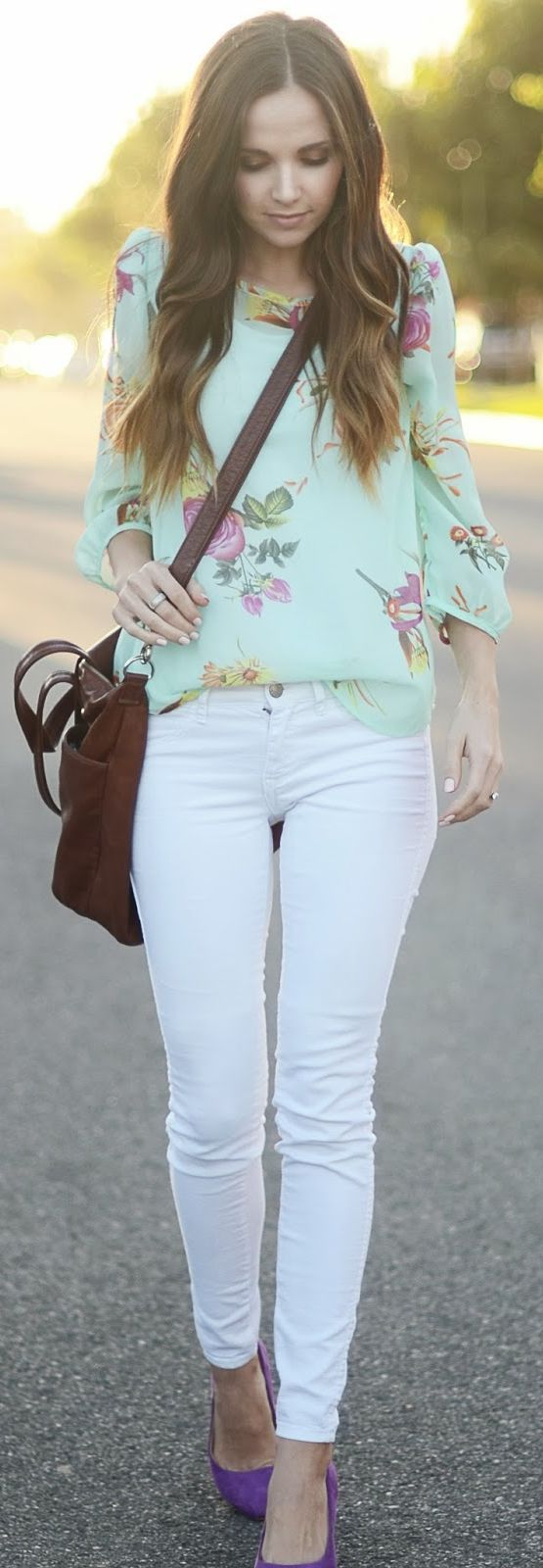 Spring Pastels: Mint - I like the idea of a floral top with white jeans but this top doesn't have enough pattern for me