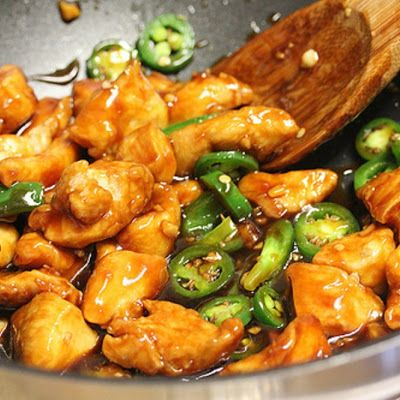 This jalapeno chicken dish has been added to many Chinese buffets in recent years. This dish is sort of a combination of Chinese-American and Mexican cuisines—it consists of deep fried pieces of chicken tossed with a sauce and jalapeno peppers. The sauce is nothing more than a combination of soy sauce, rice wine, and sugar. If you do not have a deep fryer the chicken can be cooked in the pan.