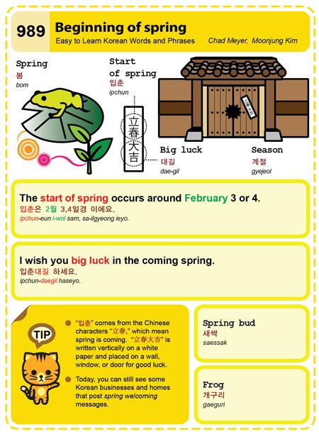 Easy to Learn Korean 989 - Beginning of spring. Chad Meyer and Moon-Jung Kim EasytoLearnKorean.com An Illustrated Guide to Korean