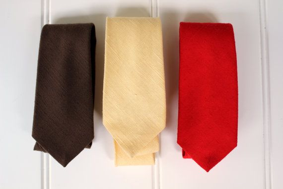 Vintage Neck Ties  Linen  Brown Yellow Red  Solid by catnapcottage