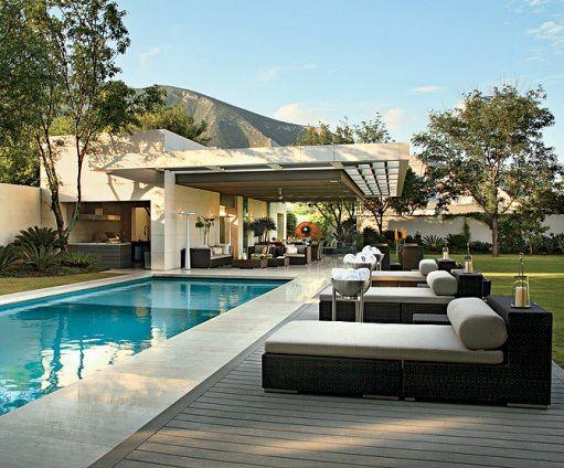 travertine + wood deck = pool