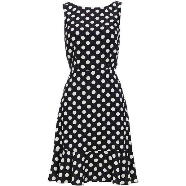 Petite Black Polka Dot Flute Hem Dress ($50) ❤ liked on Polyvore featuring dresses, petite polka dot dress, spotted dress, polka dot dresses, dot dress and petite dresses