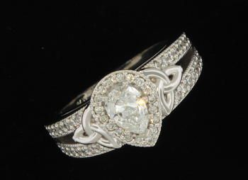 Custom Designed 14K White Gold Engagement Ring with Pear Shaped Diamond PIN2*