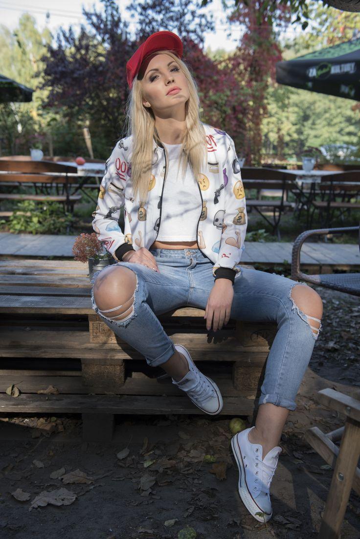 #bomberjacket #emoji #fullprint #emojigirl #jacket