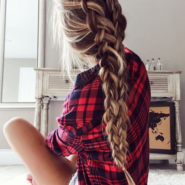 pretty blonde highlights and thick double braid   ~ we ❤ this! moncheriprom.com