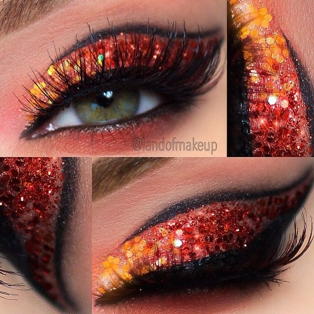 showtime eyes for a coral red yellow suit