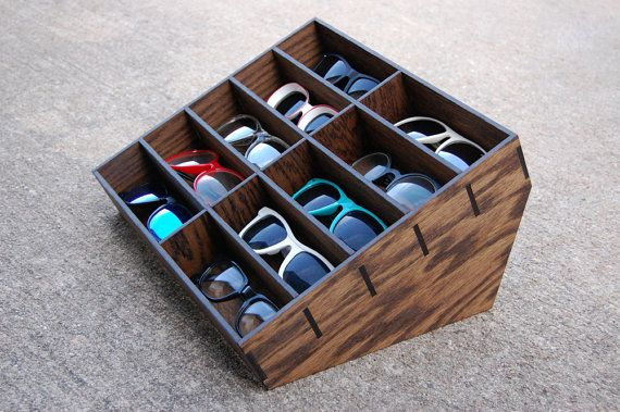Sunglasses Display Case Storage Holder Organizer Shelving Shelf 3D Glasses  Rack Oak Wood