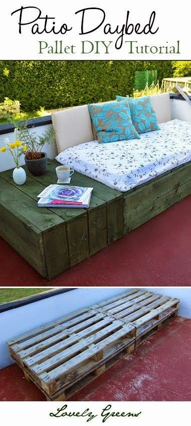 Use pallets to create a modern and chic patio daybed