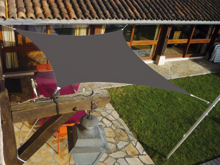 voile d 39 ombrage carr e 3x3m sur balayage ombr et fils. Black Bedroom Furniture Sets. Home Design Ideas