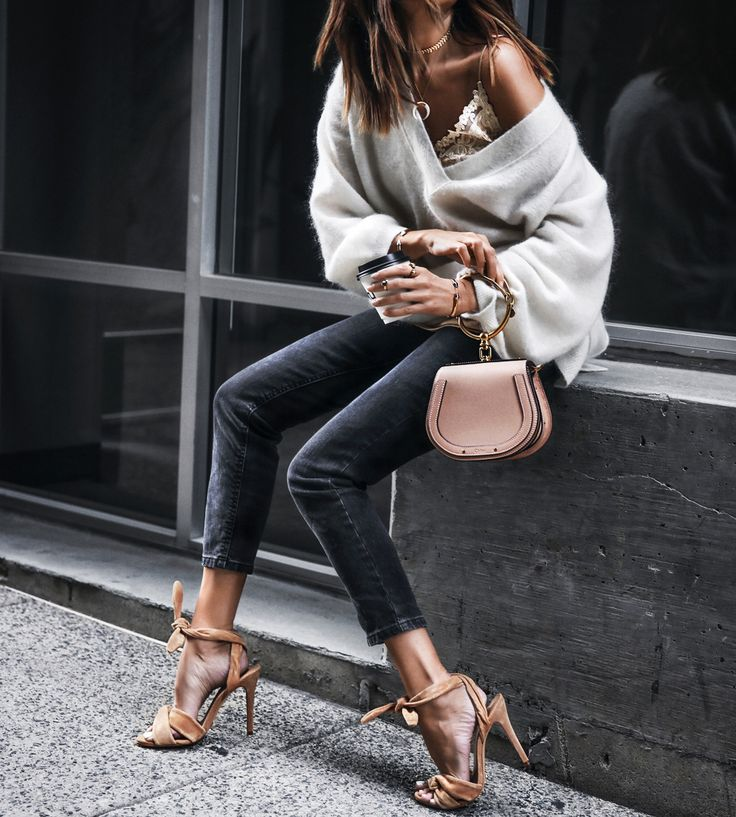 oversized white sweater, lace satin cami, camel sandals with knot, chloe bag