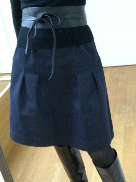 Denim skirt w/elastic waist