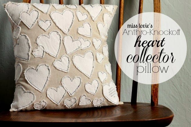 Anthro Knockoff Heart Collector Pillow http://missloviecreations.blogspot.co.uk/2014/02/anthro-knockoff-heart-collector-pillow.html