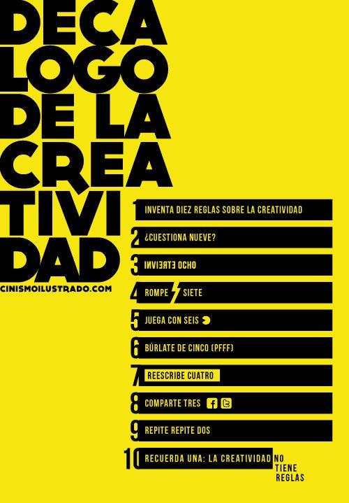 Decalogo de la #creatividad en clave creativa  y de humor #infographic