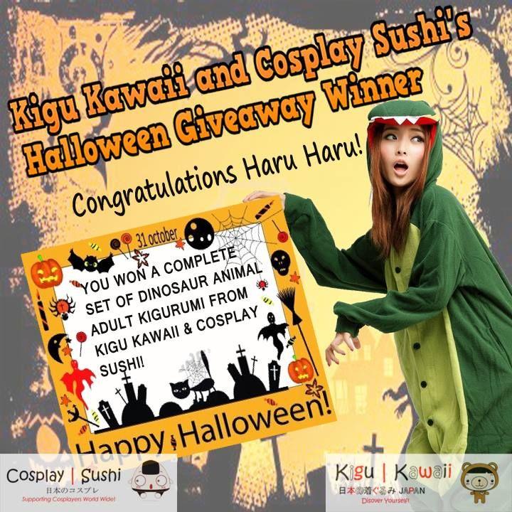 Our Lucky Halloween Giveaway Winner is Here! \ (•◡•) /   Congratulations Haru Haru https://www.facebook.com/haru.haru.9843499  for winning a Dinosaur kigurumi set from Kigu Kawaii and Cosplay Sushi. The winner was picked randomly.  https://www.facebook.com/photo.php?fbid=254832937998314&set=pb.120382448110031.-2207520000.1388540294.&type=3&src=https%3A%2F%2Ffbcdn-sphotos-d-a.akamaihd.net%2Fhphotos-ak-prn2%2F1450305_254832937998314_234739930_n.jpg&size=720%2C720