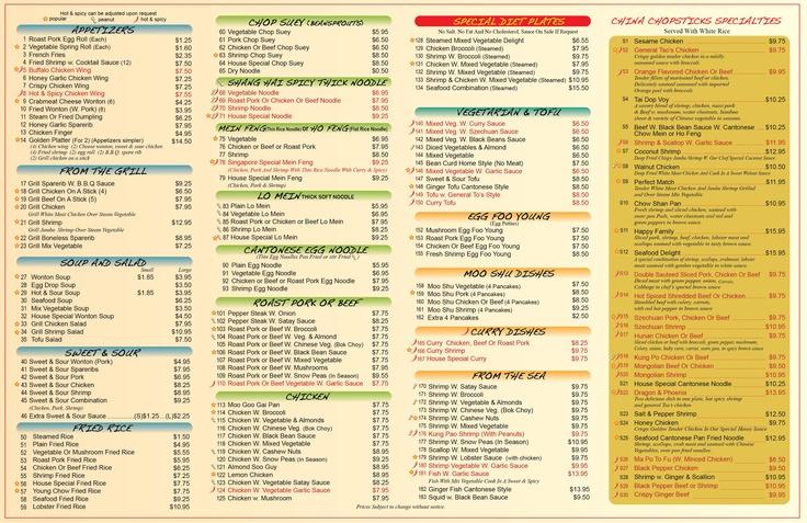 China Chopsticks menu back