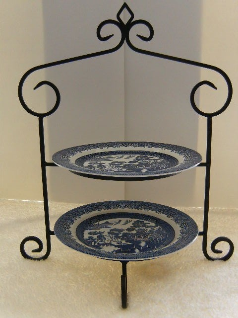 Cast Wrought Iron Metal 2 Plate or Bowl Table Top Display Serving Stand Holder | eBay