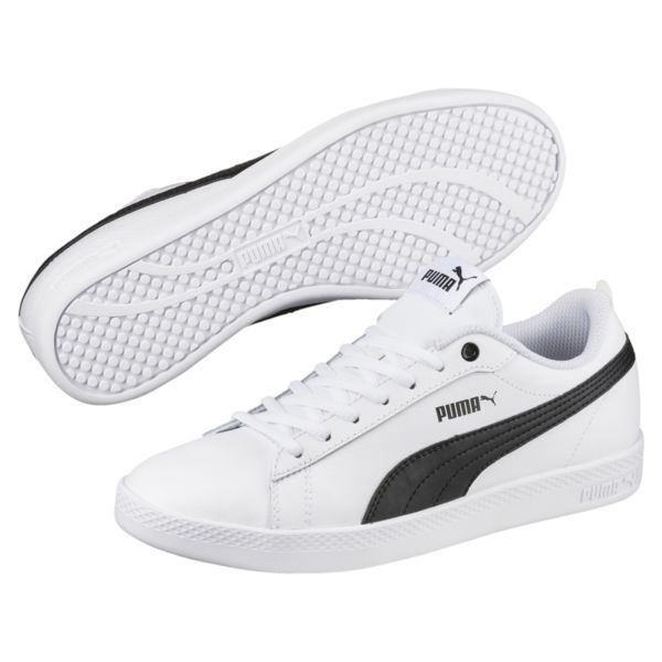 Smash v2 Leather Women's Sneakers in 2019 | Black puma shoes