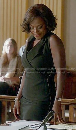 Annalise's black sleeveless dress on How to Get Away with Murder.  Outfit Details: http://wornontv.net/52318/ #HTGAWM